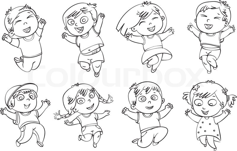 Children jump for joy. Coloring book. Vector illustration. Isolated ...