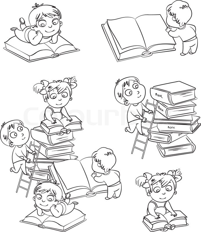Children reading books in the library coloring book for Kids reading books coloring pages