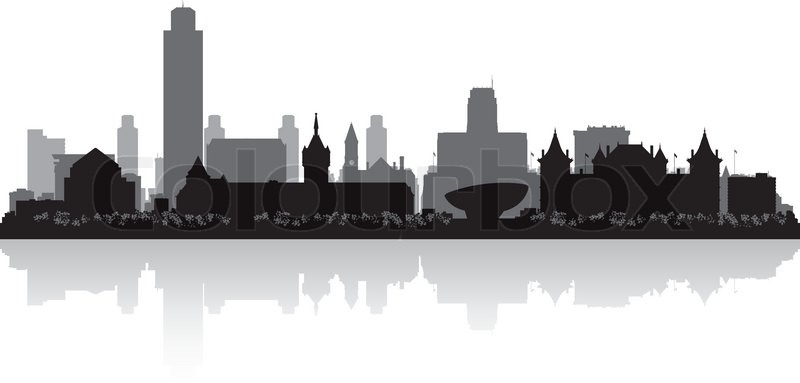 albany new york city skyline vector silhouette illustration stock