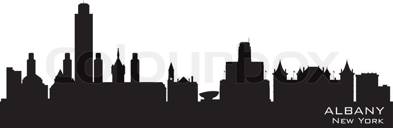 albany new york skyline detailed vector silhouette stock vector