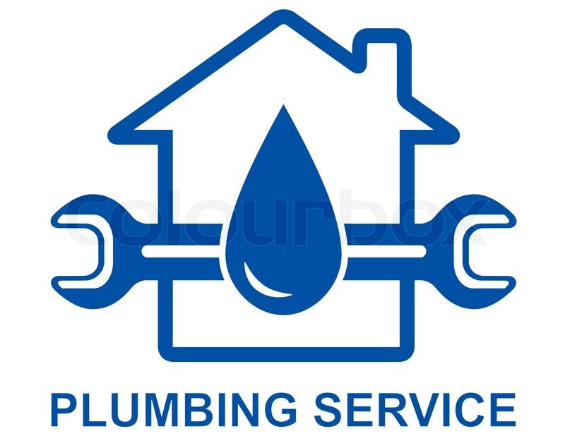 Plumbing Sign With Big Water Drop And Spanner Stock