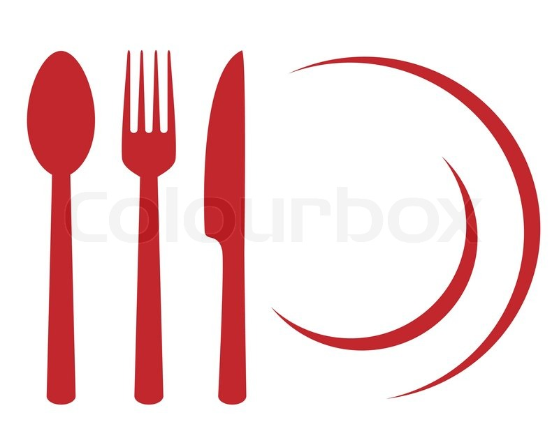 Restaurant Symbol With Plate Fork Knife And Spoon Stock Vector