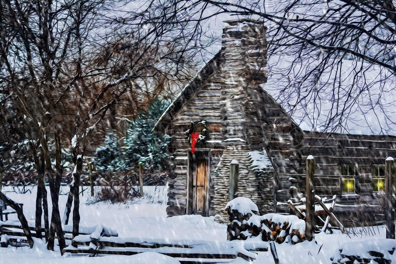 Winter Christmas scene with a log cabin covered with snow and a ...