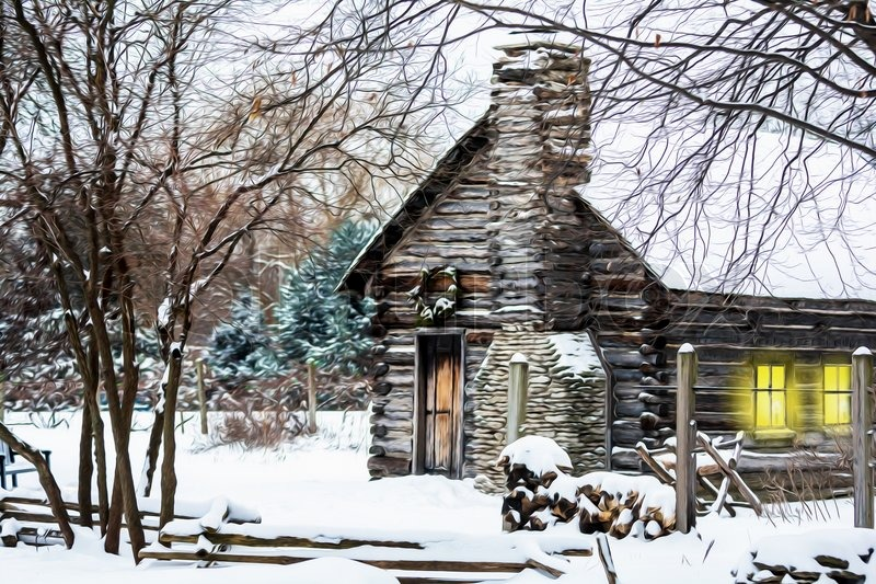Winter Christmas Scene With A Log Cabin Covered With Snow
