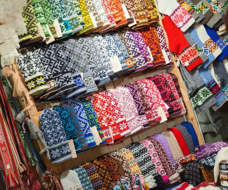 Riga Latvia December 2013 Colorful Woolen Mittens With Traditional Folk Patterns On The