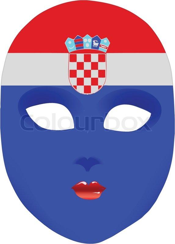 Classic Mask With Symbols Of Statehood Of Croatia Vector