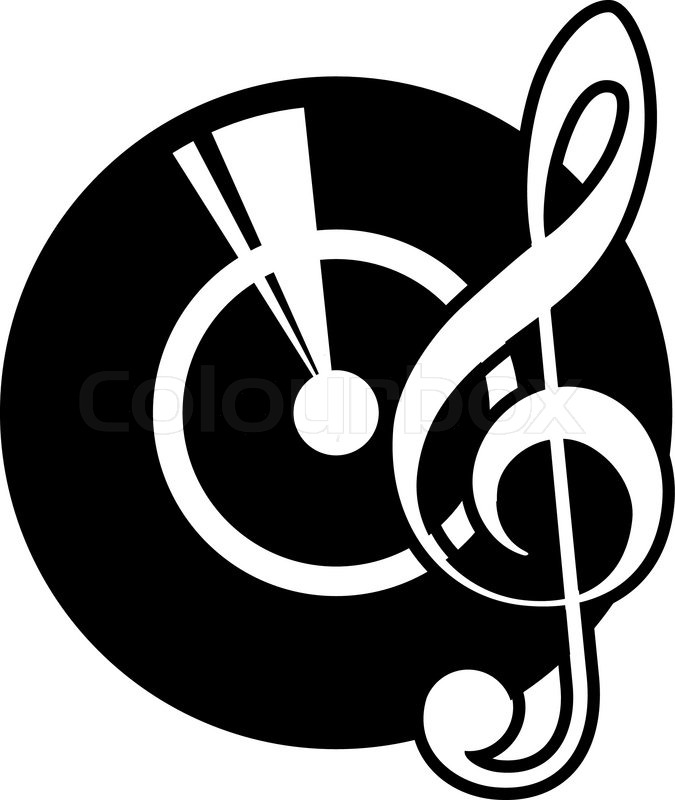 Black And White Cartoon Icon Of A Vinyl Record And A