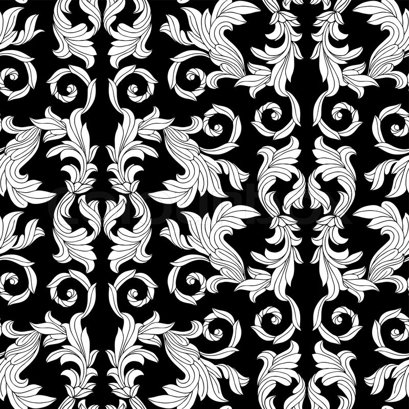 Black Flower Pattern Stock Images: Vintage Antique Floral Background, Beautiful Flowers