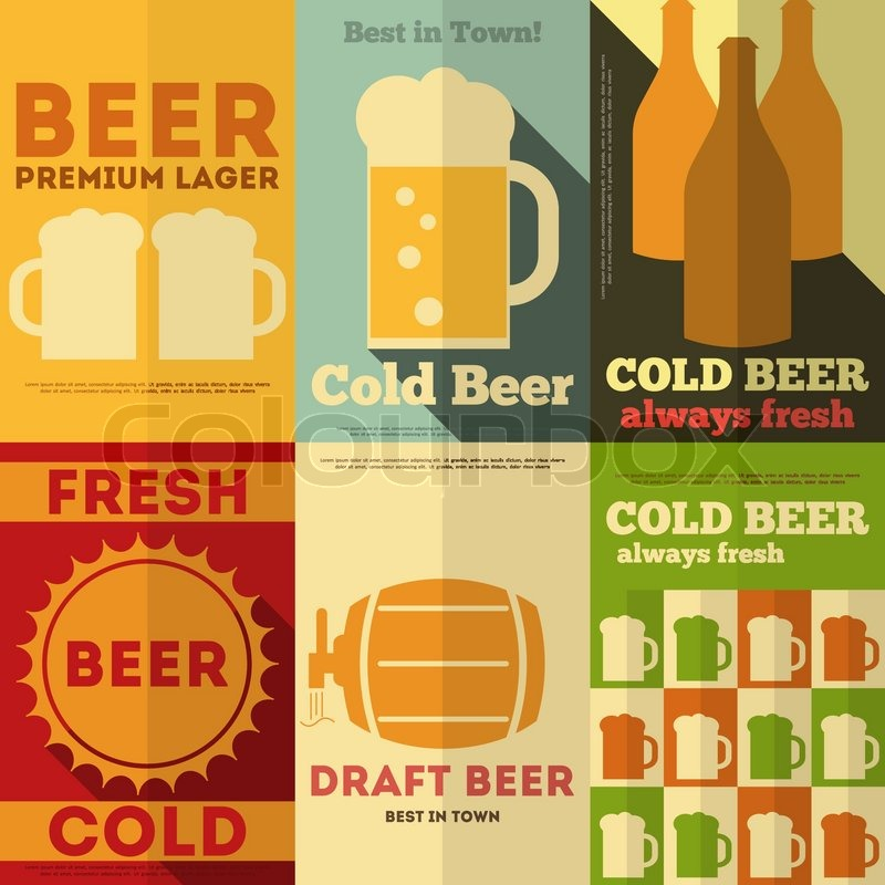 Beer Retro Posters Collection In Flat Design Style Vector Illustration