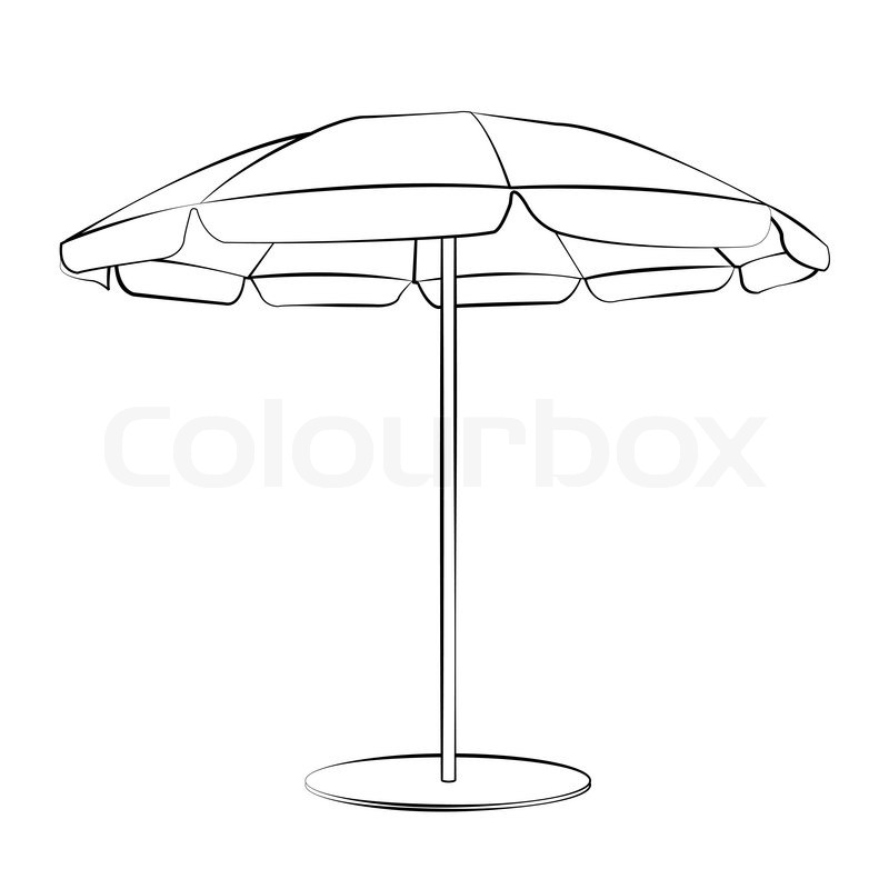 Black outline vector beach umbrella