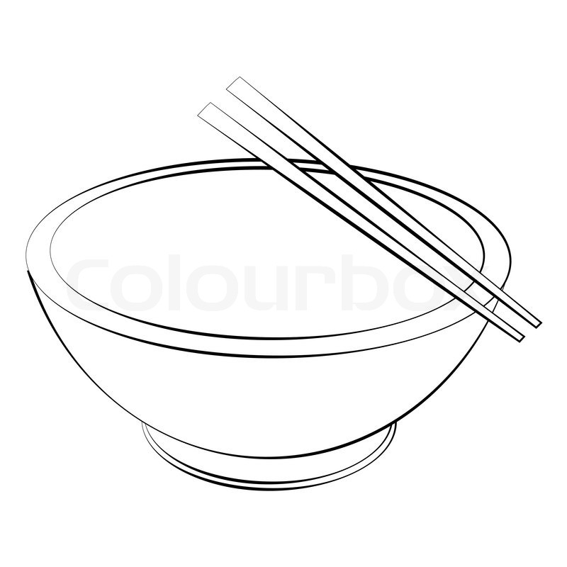 Black Outline Vector Bowl And Chopsticks On White