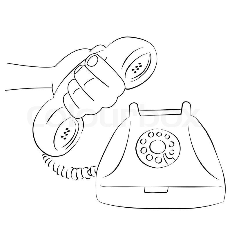 cartoon vector outline illustration telephone ringing old