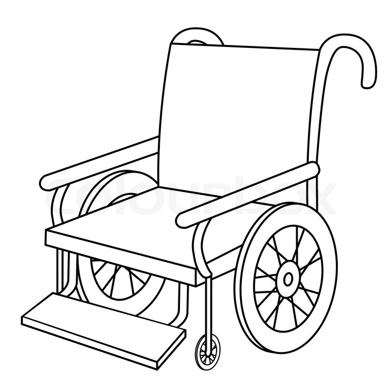 black outline vector wheel chair on