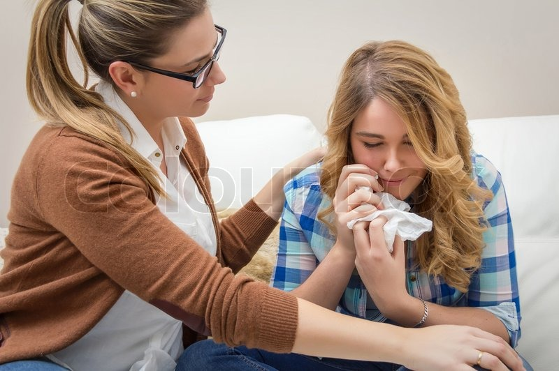 Mother Soothes Sad Teen Daughter Crying   Stock Photo -2739