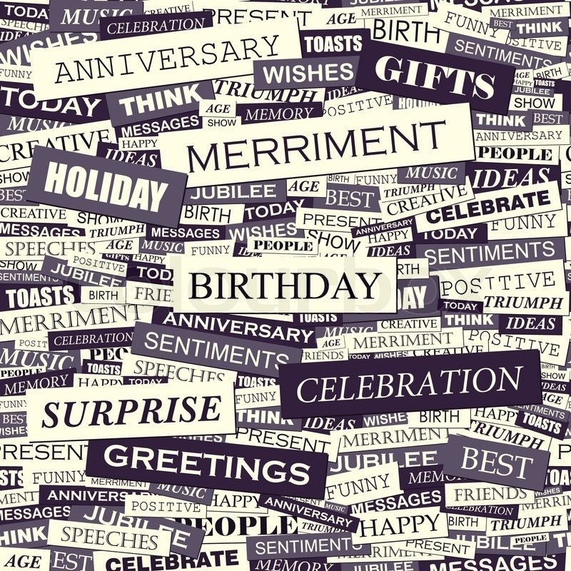 BIRTHDAY. Seamless Pattern. Concept Related Words In Tag