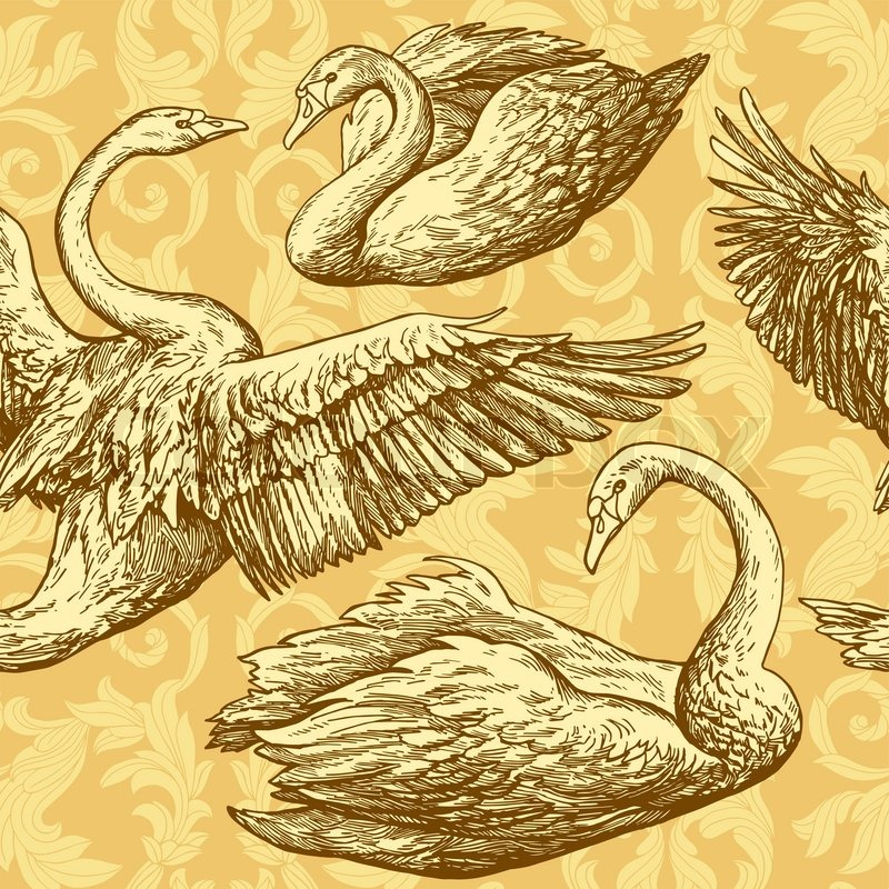 Vintage Antique Background With Swans And Victorian