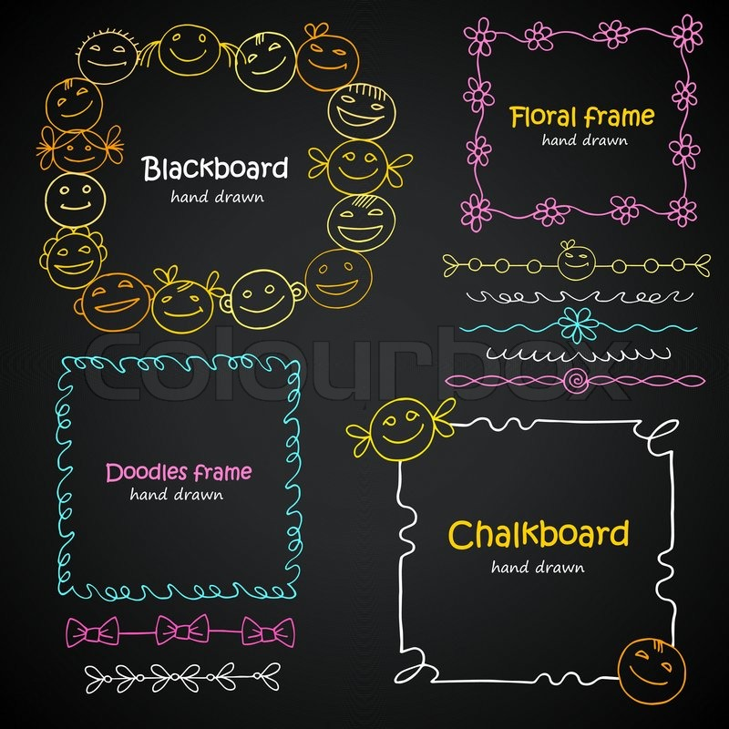 photo frames and borders set of hand drawn kids smiles chalkboard