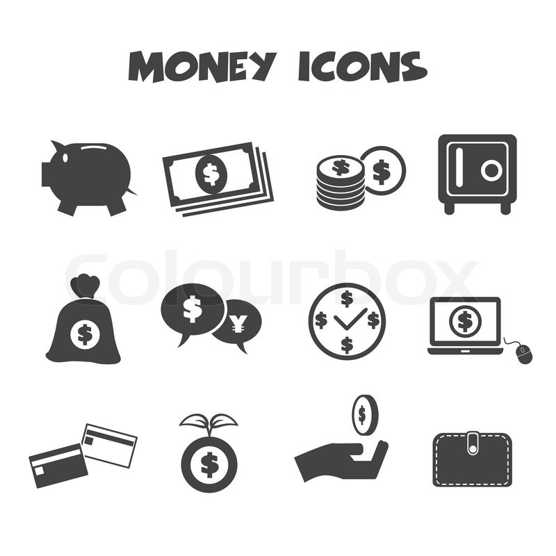 Money Icons Mono Vector Symbols Stock Vector Colourbox