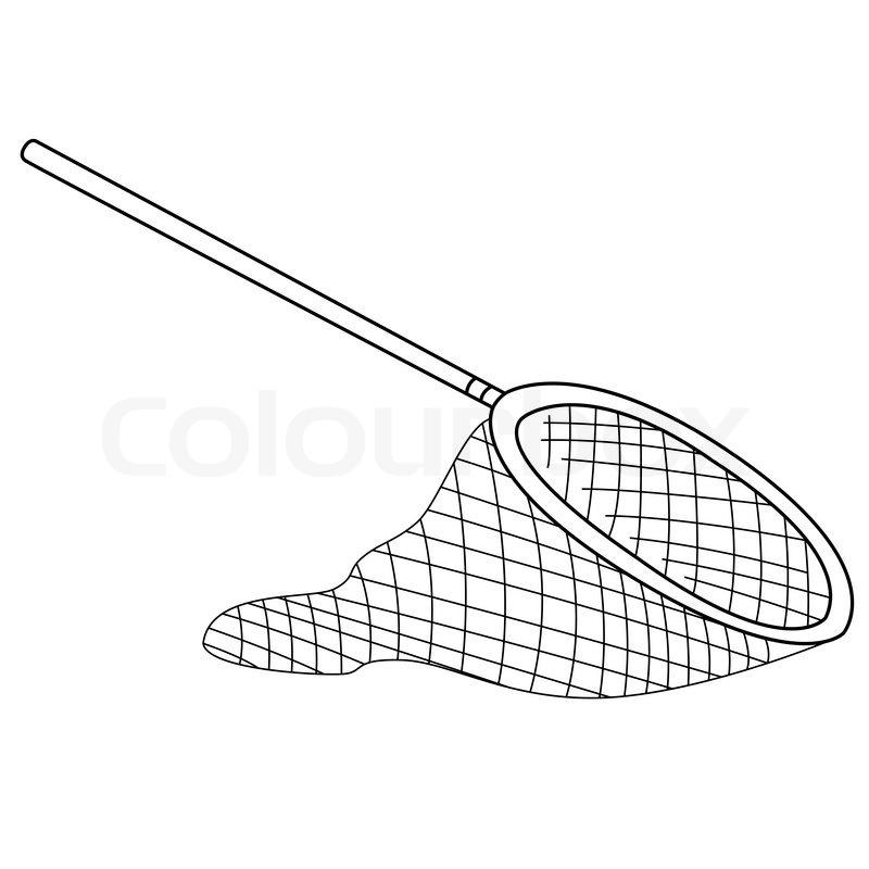 black outline vector fishing net on white background stock vector