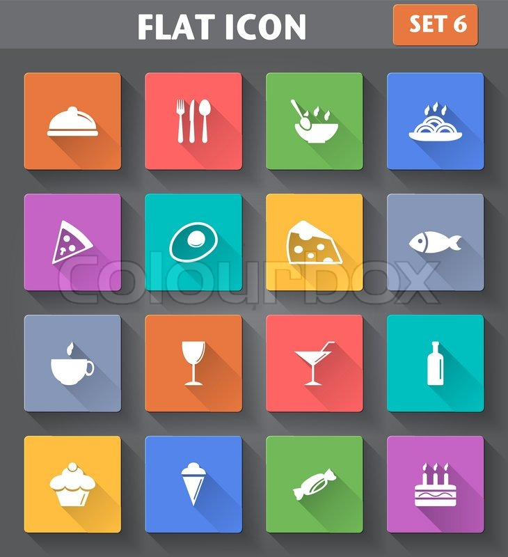Vector application Food and Drink set in flat style with long shadows, vector