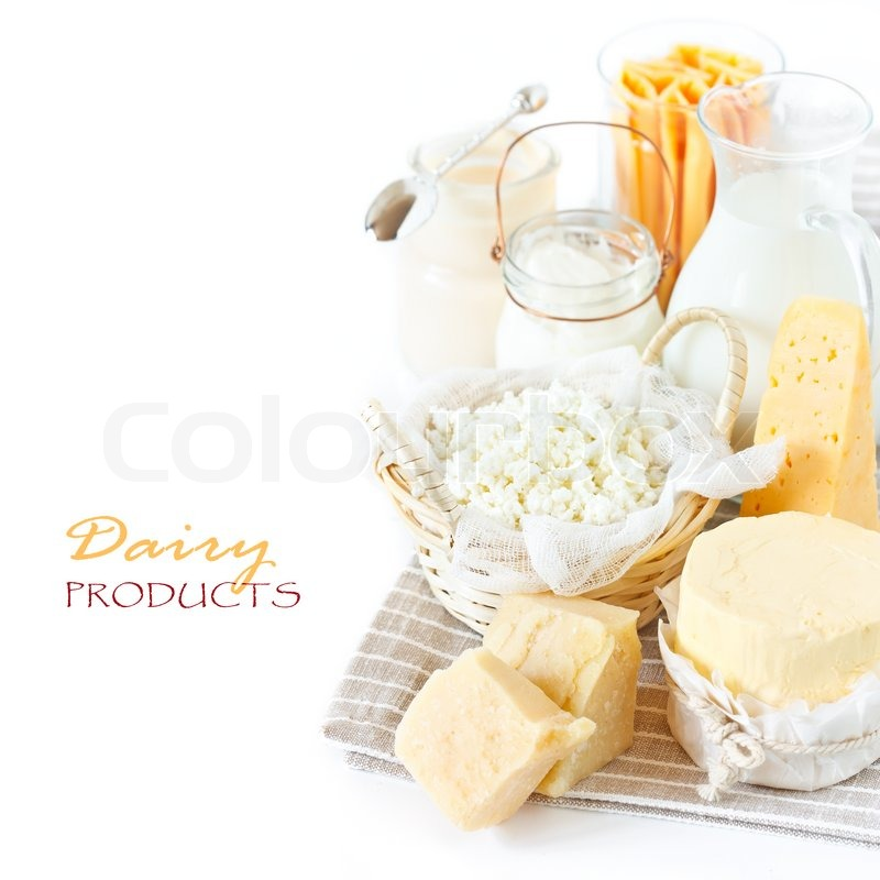 Fresh dairy products in the gray linen napkin. Rustic style, stock photo