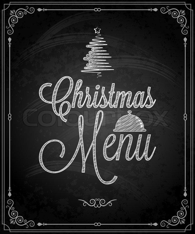 Chalkboard - frame merry christmas menu   Stock Vector   Colourbox