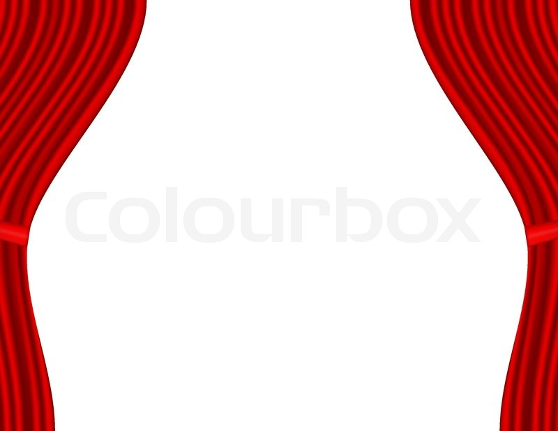 Theater Stage With Red Curtain White Background | Stock Vector | Colourbox