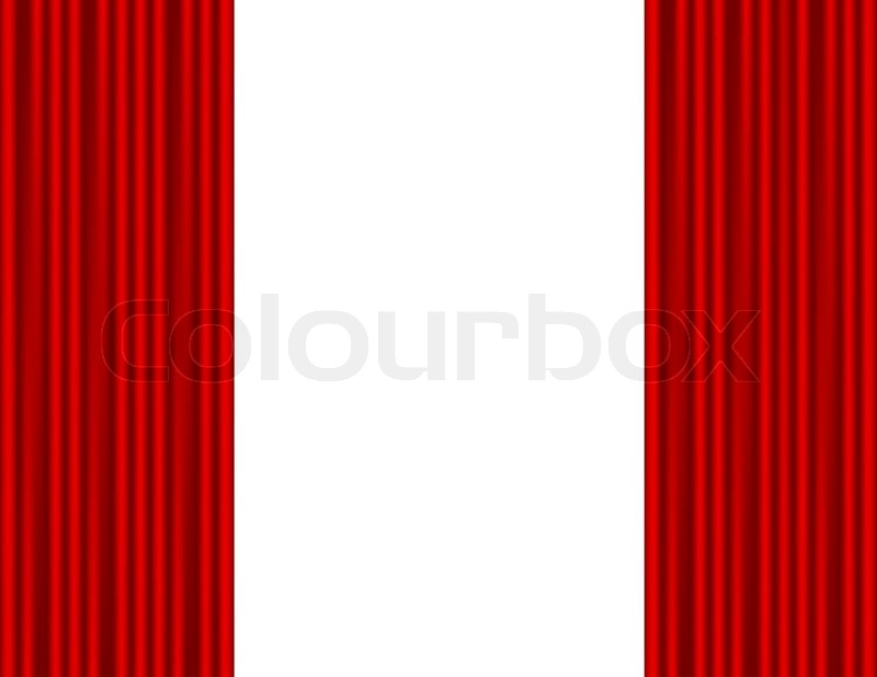 Theater stage with red curtain white background vector colourbox