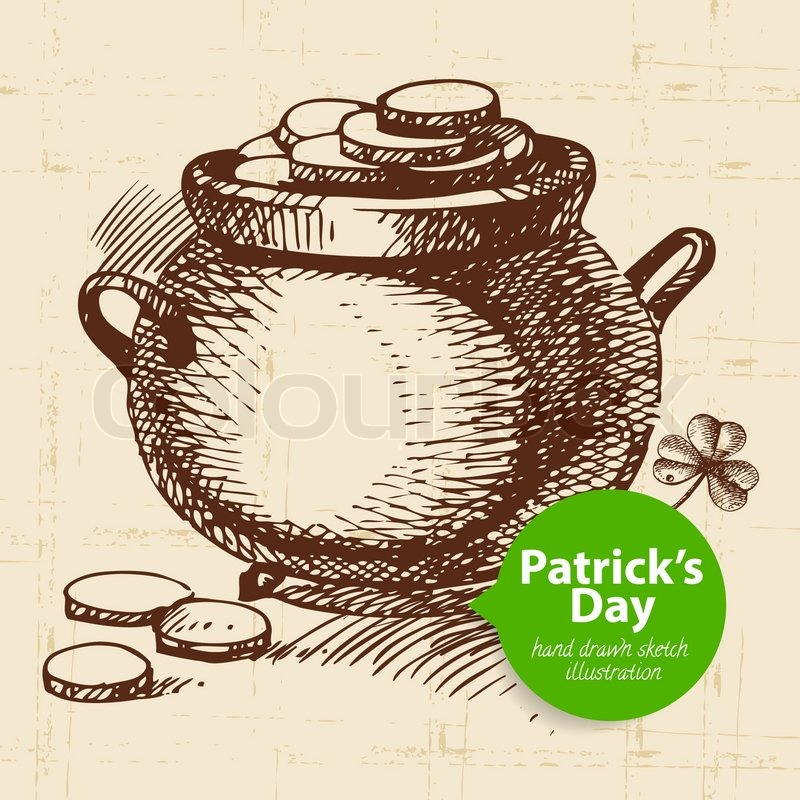 St patrick s day background with hand drawn sketch for Irish mail cart plans
