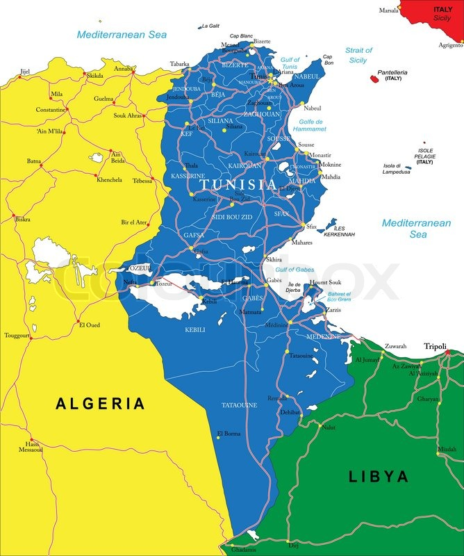 Highly detailed vector map of Tunisia with administrative regions ...
