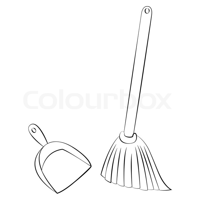 Black Outline Vector Broom Amp Dustpan On White Background