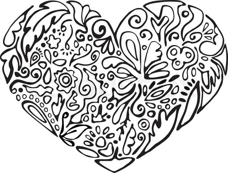 Black And White Heart Floral Ornament Sketch Stencil