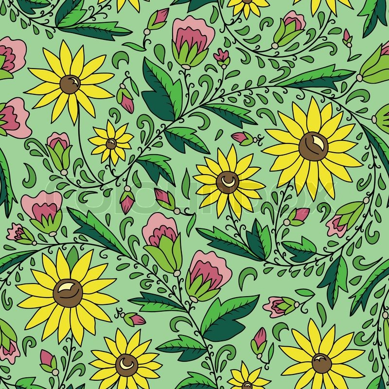 Seamless texture with flowers, sunflower, leaves, buds. Can be used as a background picture, pattern fill, surface texture, a figure for tissue, vector