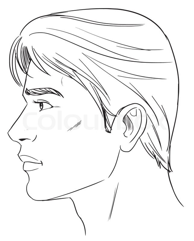 outline side profile of a human male head