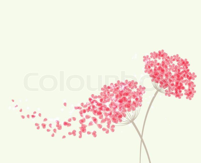 Vector Romantic background with flowers hydrangea, vector