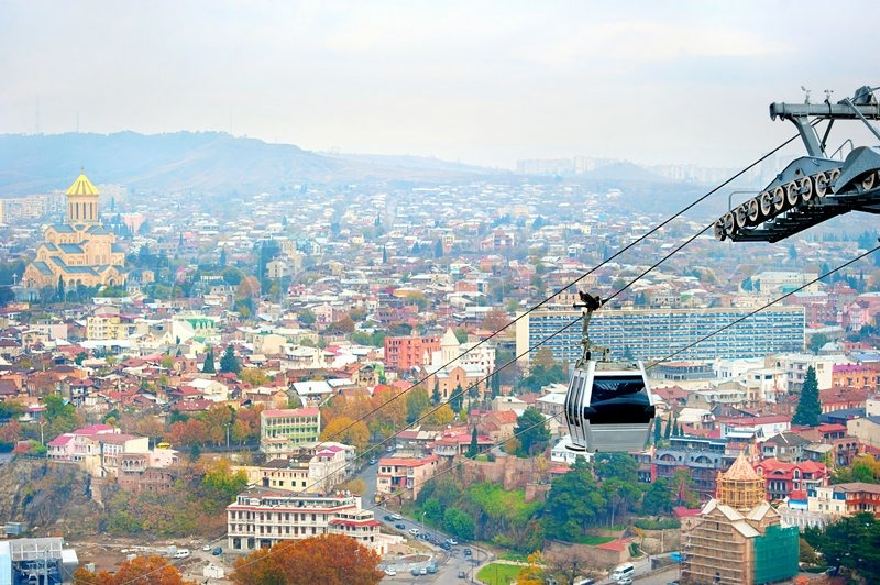 How To Buy A Car In Tbilisi Georgia: Cable Car Above Tbilisi In The Day, Georgia