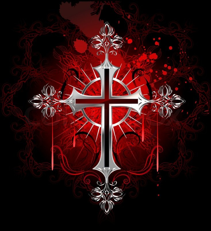 Jewelry gothic silver cross on a black background decorated with a pattern by copyright and - Gothic hintergrundbilder ...
