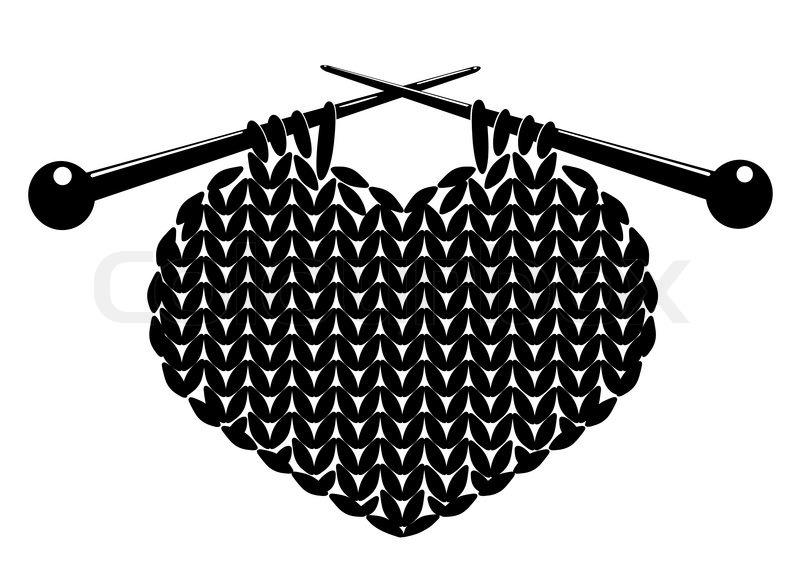 Knitting Hands Clipart : Silhouette of knitting heart vector illustration