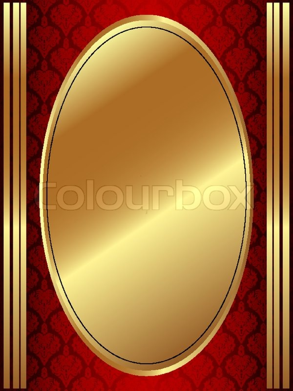 Vertical gold oval frame on a dark red ornament | Stock Vector ...