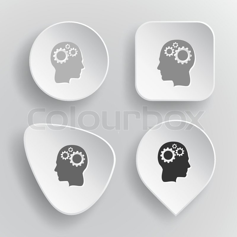 Human Brain Black And White Human Brain White Flat Vector Buttons on Gray Background Vector