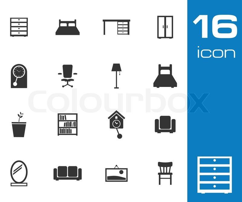 schwarze m bel vektoricons setzen auf wei em hintergrund. Black Bedroom Furniture Sets. Home Design Ideas