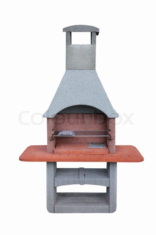 Outdoor fireplace / barbecue grill made from bricks and cement ...