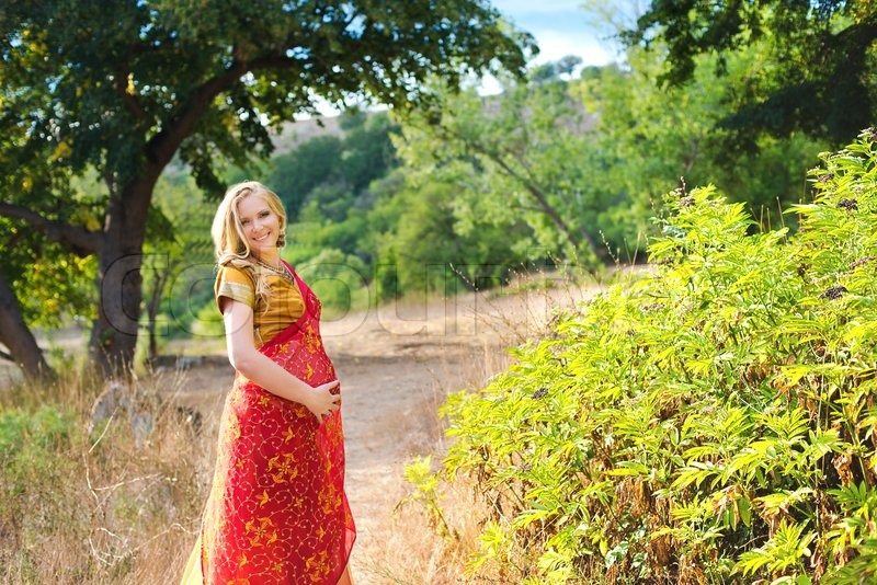 Pregnant Woman In The Parkindian Girl   Stock Photo -9683