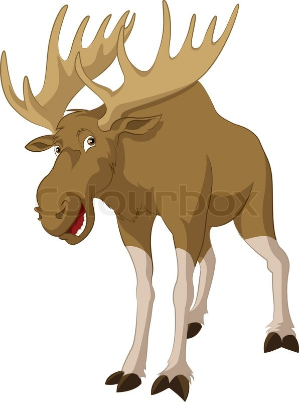 Vector Image Of Big Funny Cartoon Elk Stock