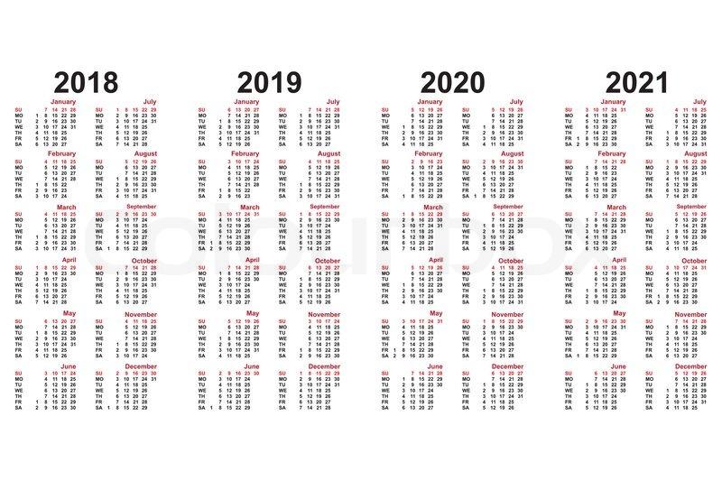 kalender 2018 bis 2021 jahrelang stock vektor colourbox. Black Bedroom Furniture Sets. Home Design Ideas