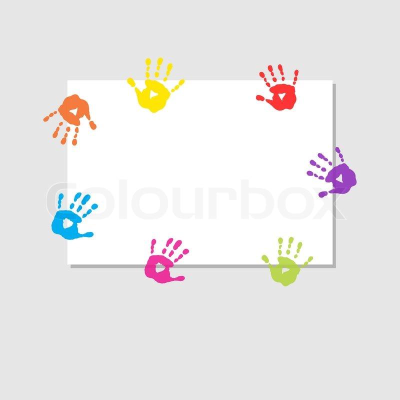 Deckblatt mit druckt von Kinderhänden | Vektorgrafik | Colourbox
