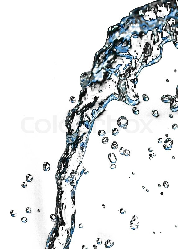 Stream Of Water On A White Background Stock Photo