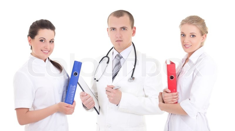 Three young doctors in white coats isolated over white | Stock