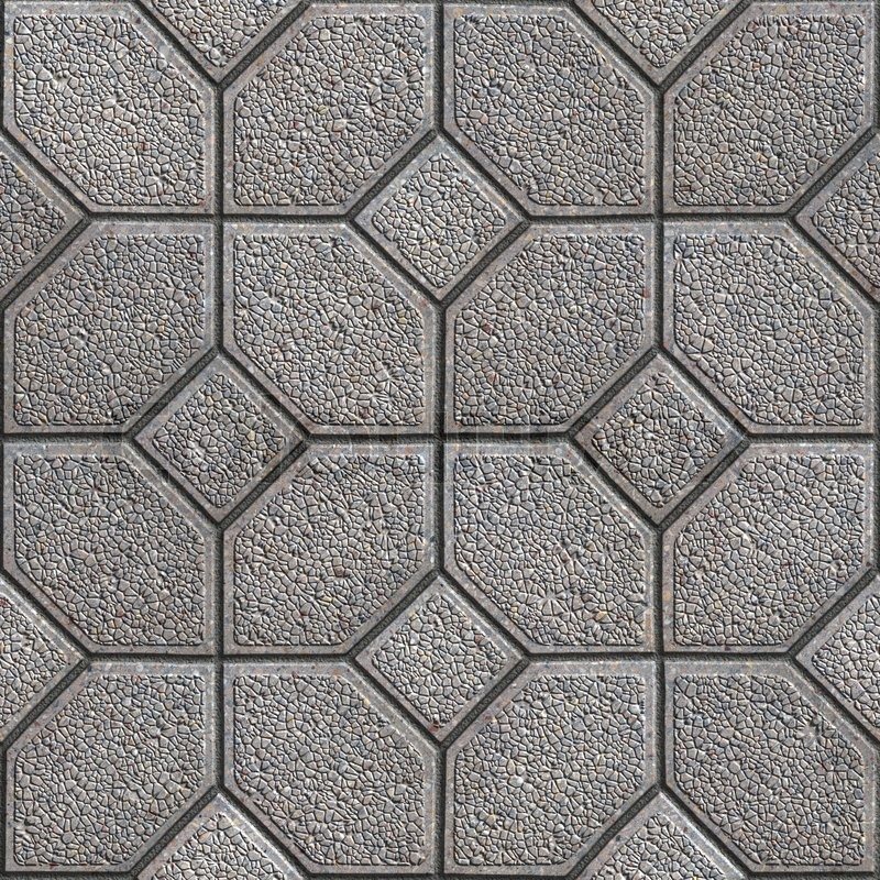 Gray Granular Pavement Of Four Hexagons Around The Square Seamless Tileable Texture Stock