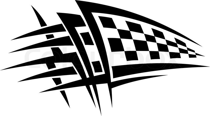 Racing Tattoo With Checkered Flag Stock Vector Colourbox